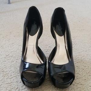 """5"""" black peep toe pumps"""